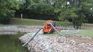Lowering the water via a pump